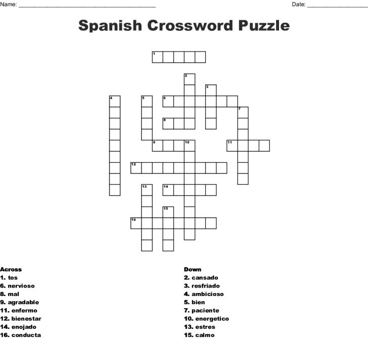 Printable Spanish Crossword Puzzle Answers