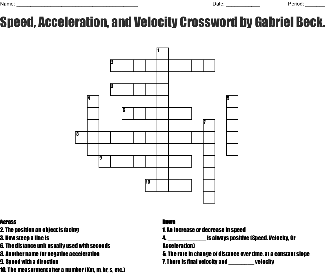 Speed, Acceleration, And Velocity Crosswordgabriel Beckett - Printable 2 Speed Crossword