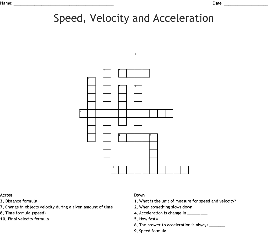 Speed, Velocity And Acceleration Crossword - Wordmint - Printable 2 Speed Crossword