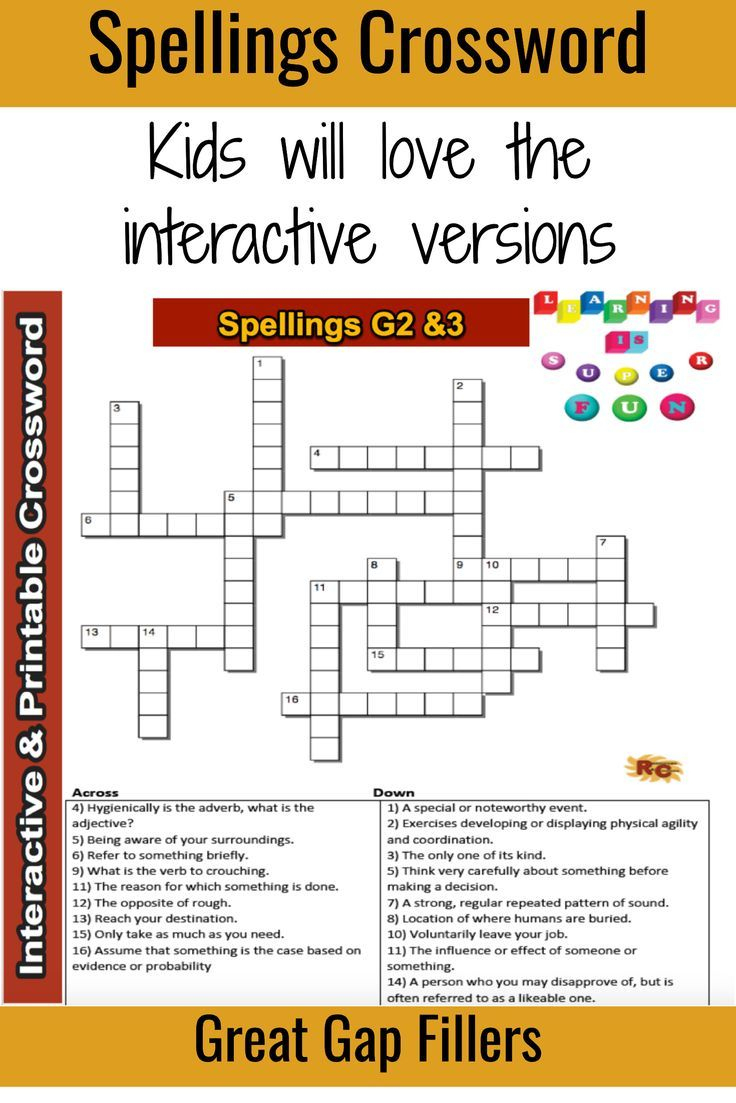 Spelling Grade 2&3 Interactive & Printable Crossword Puzzle - Grade 2 Crossword Puzzles Printable