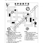Sport Crossword Puzzle   Esl Worksheetqiqa   Sports Crossword Puzzles Printable