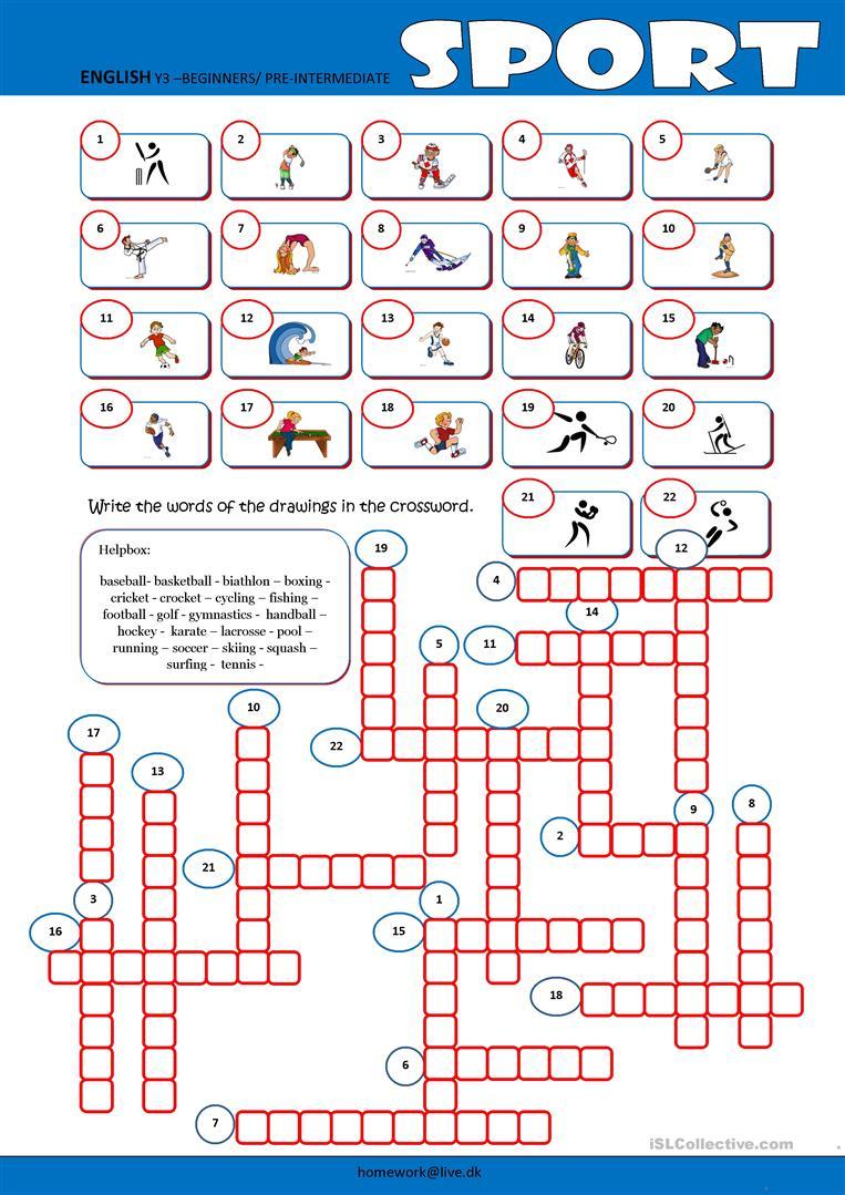 Sport Crossword Worksheet - Free Esl Printable Worksheets Made - Printable Hockey Crossword Puzzles