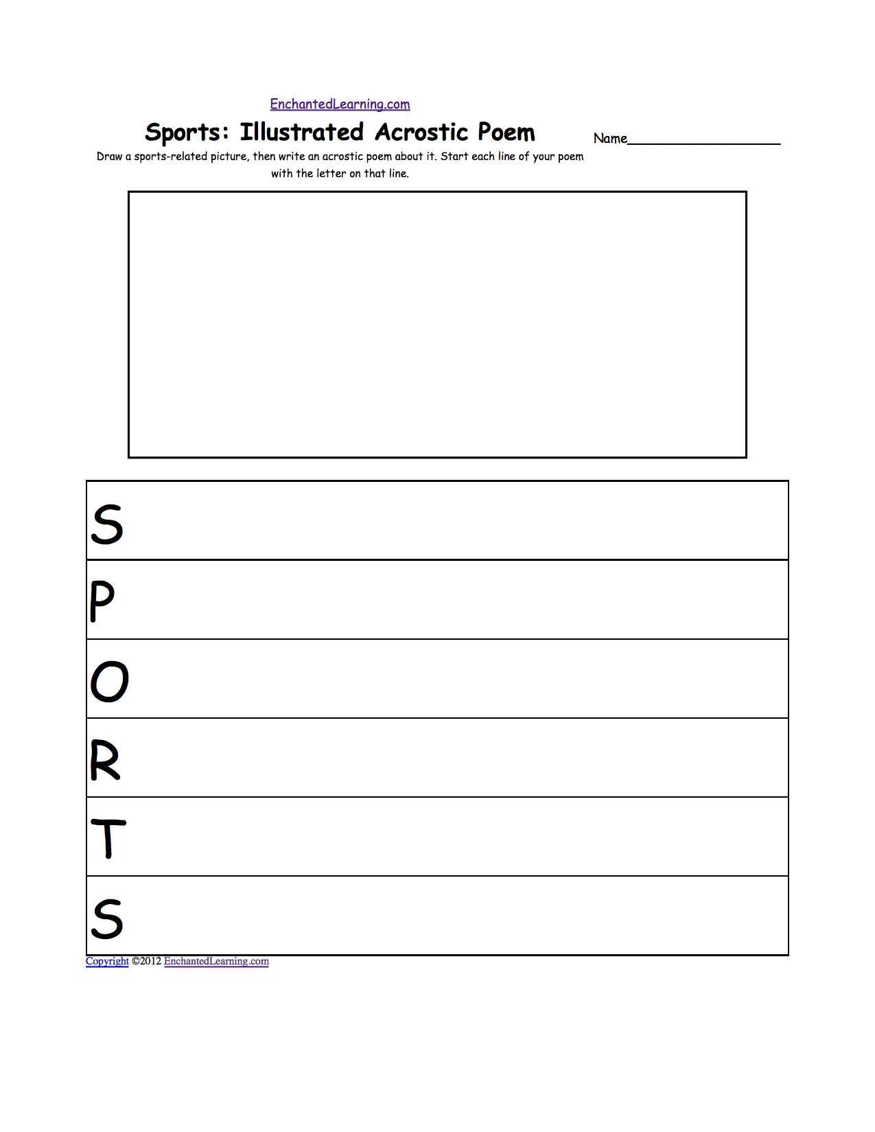 Sports Acrostic Poems: Enchantedlearning - Printable Acrostic Puzzle