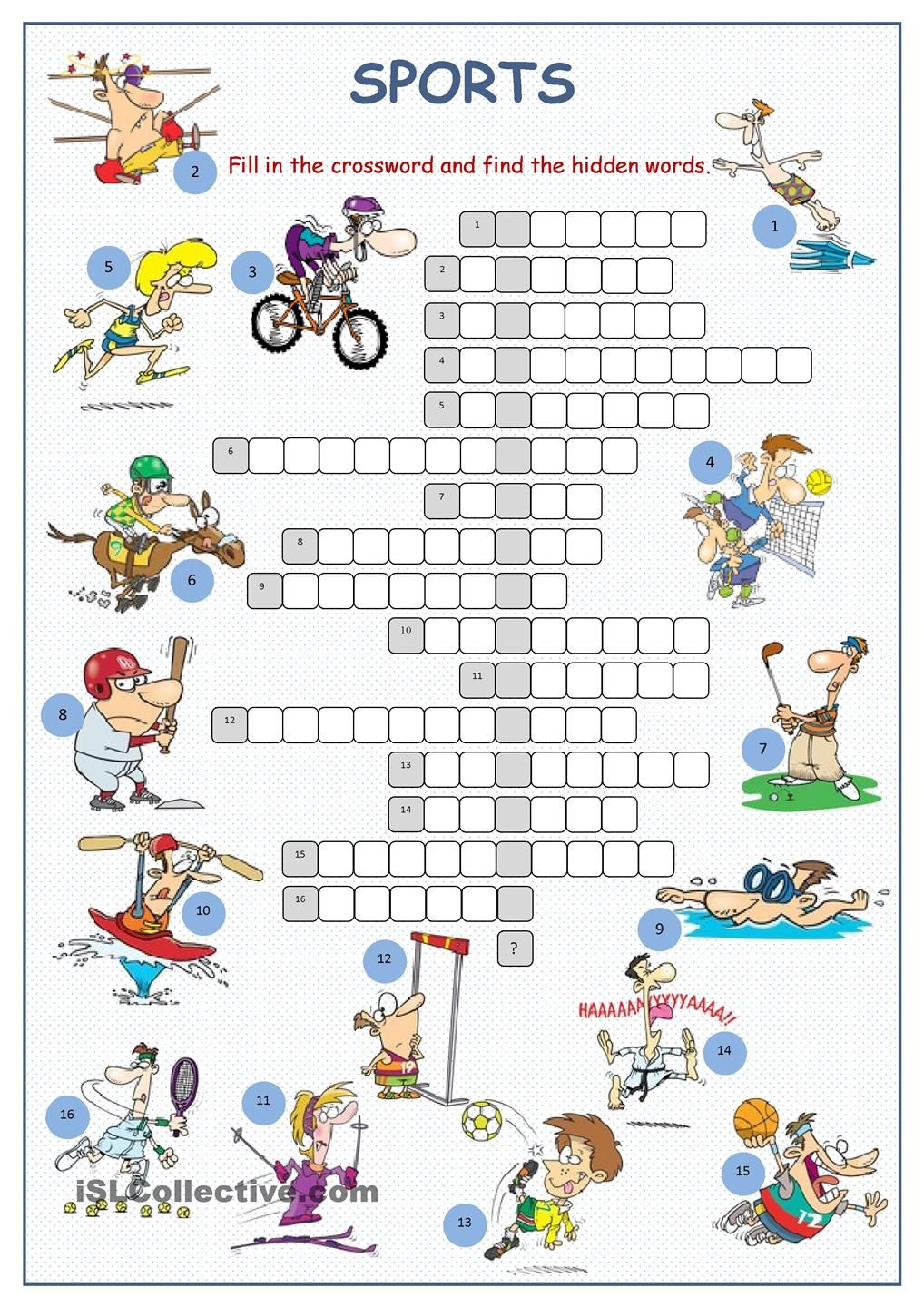 Sports Crossword Puzzle | English | Sports Crossword, Sport English - Printable Crossword Puzzles Sports