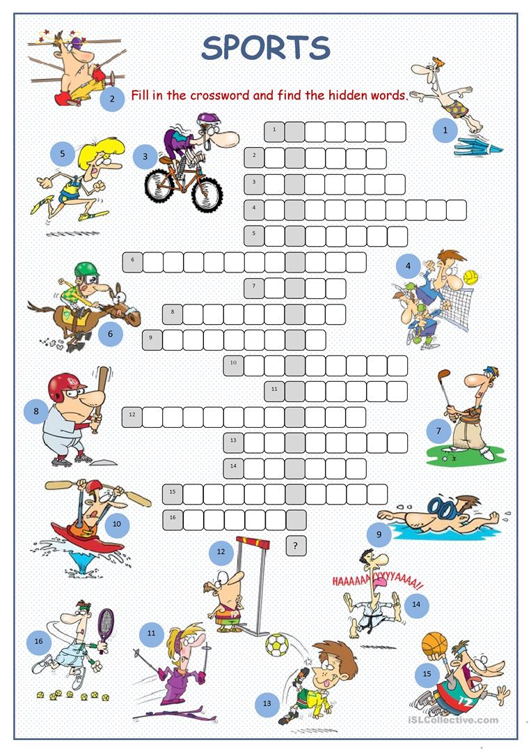 Sports Crossword Puzzle Worksheet - Free Esl Printable Worksheets - Printable Esl Crossword Worksheets