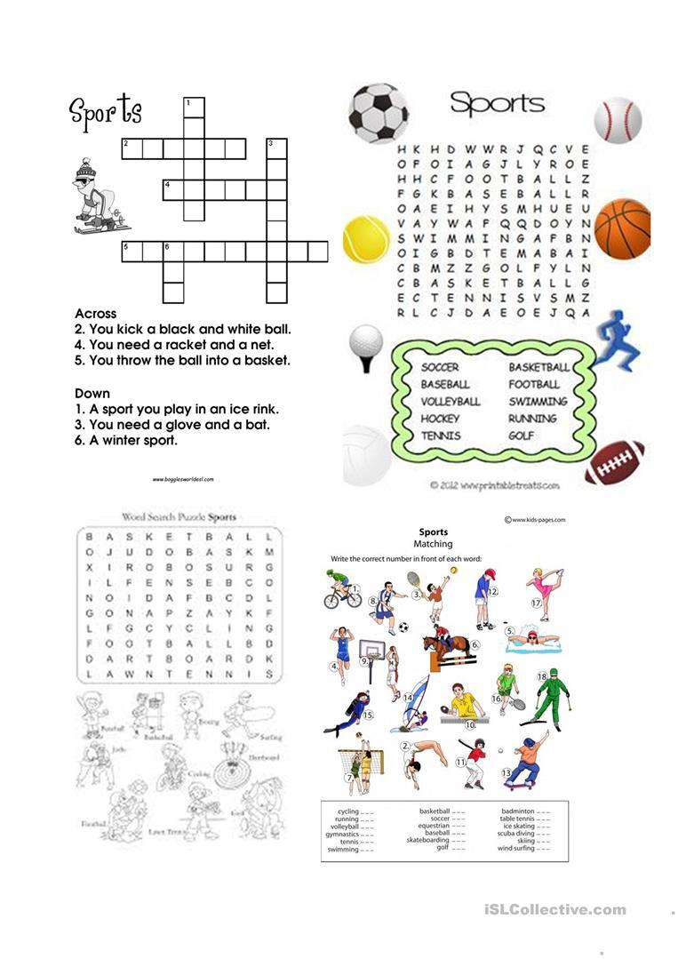 Sports Wordsearch And Crosswords Worksheet - Free Esl Printable - Printable Crosswords Rugby