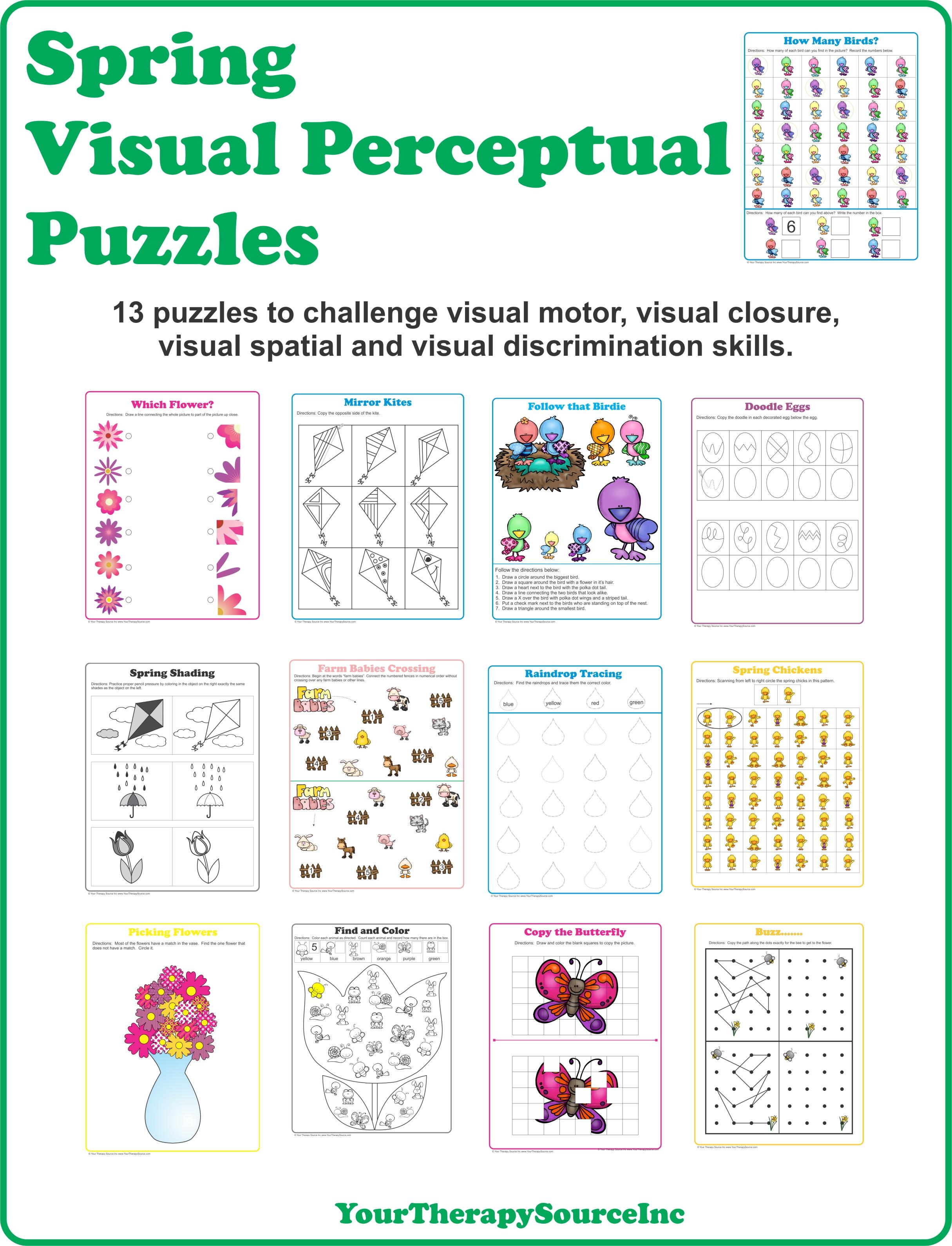 Spring Visual Perceptual Puzzles - Growing Play - Printable Visual Puzzles