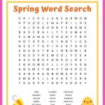 Spring Word Search Free Printable Worksheet For Kids – Printable Spring Puzzles
