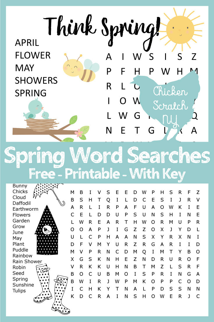 Spring Word Search - Printable Spring Crossword Puzzles
