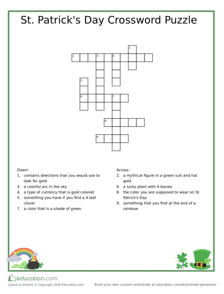 St. Patrick's Day Crossword Puzzle - Adore Them - Printable Crossword Of The Day