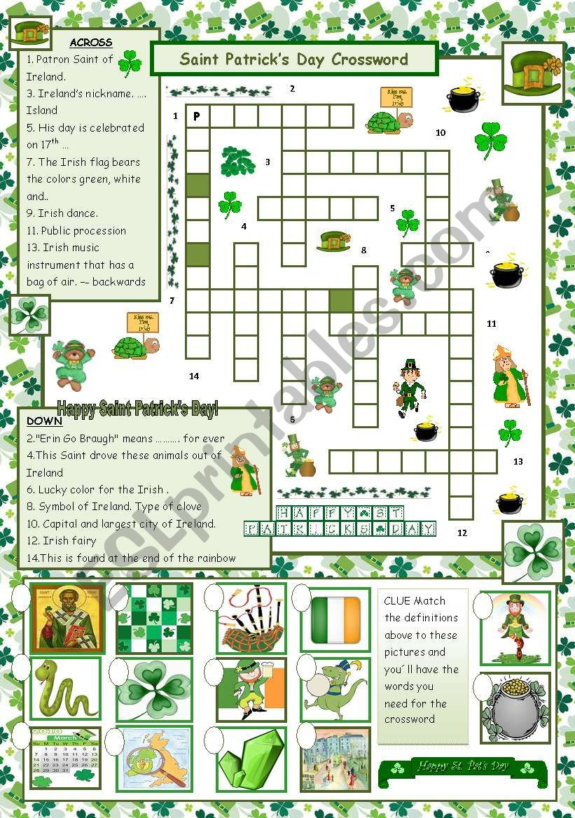 St. Patrick´s Day Crossword - With Answers - Esl Worksheetmaguyre - St Patrick's Day Crossword Puzzle Printable