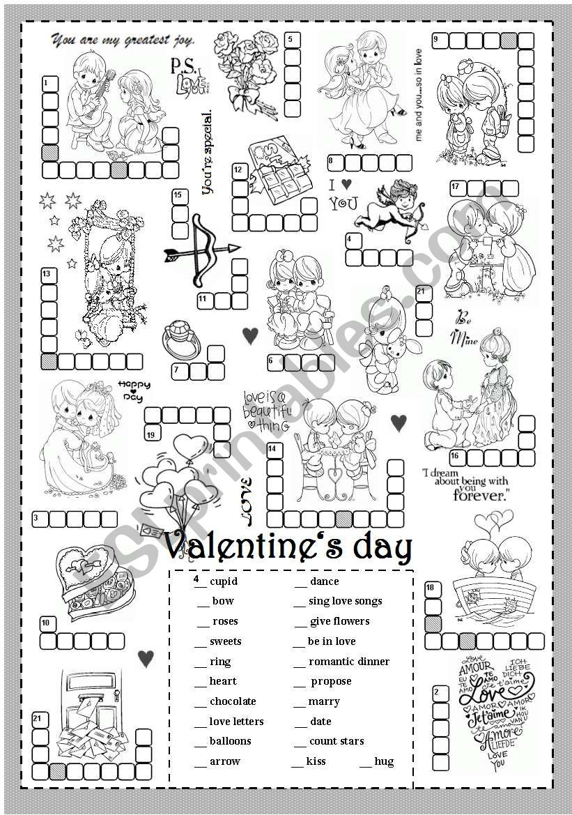 St Valentine´s Day (Puzzle) - Esl Worksheetsilvanija - Valentine's Day Printable Puzzle