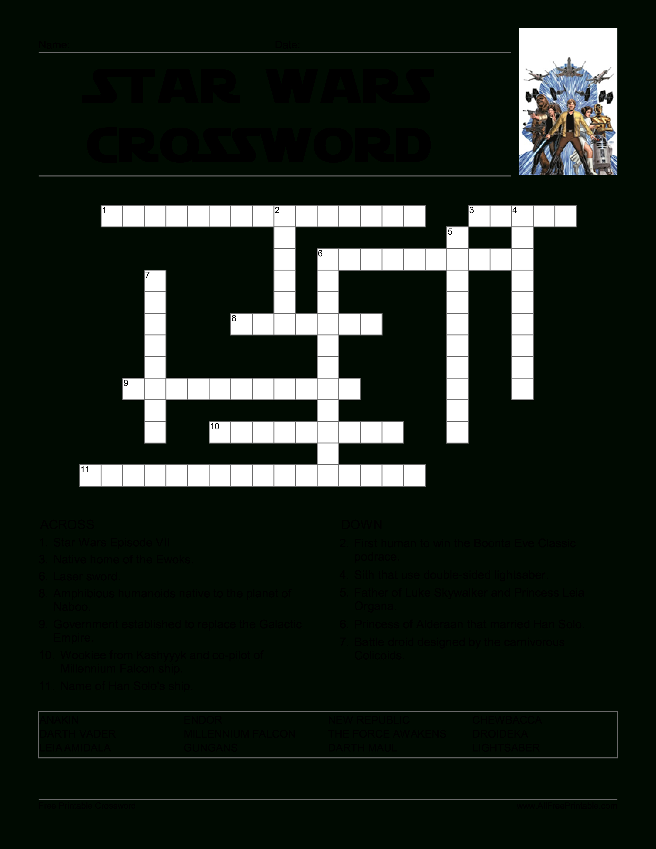Star Wars Crossword Game | Templates At Allbusinesstemplates - Star Wars Crossword Puzzle Printable