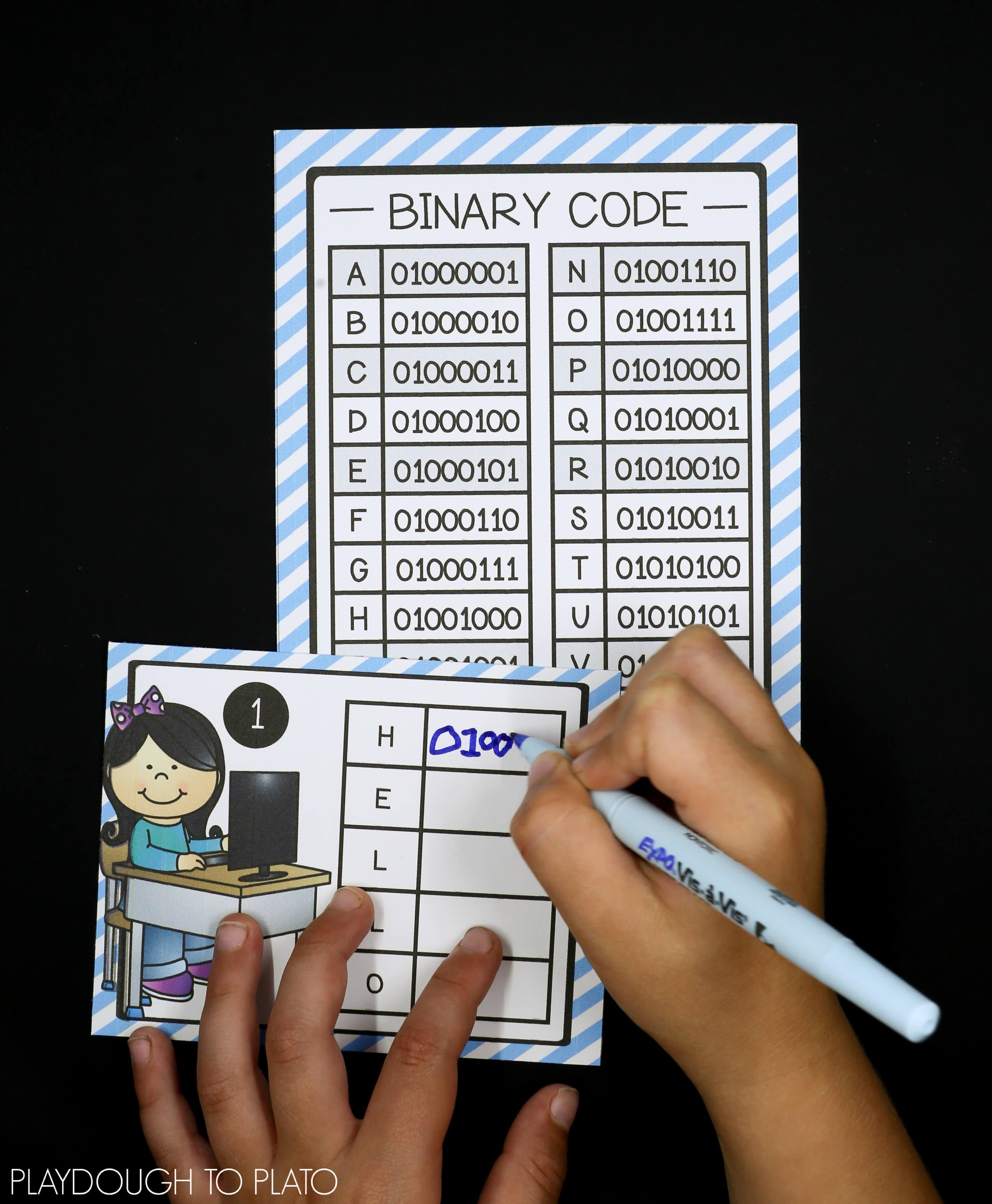 Stem Challenge: Write Computer Code - Playdough To Plato - Printable Binary Puzzles