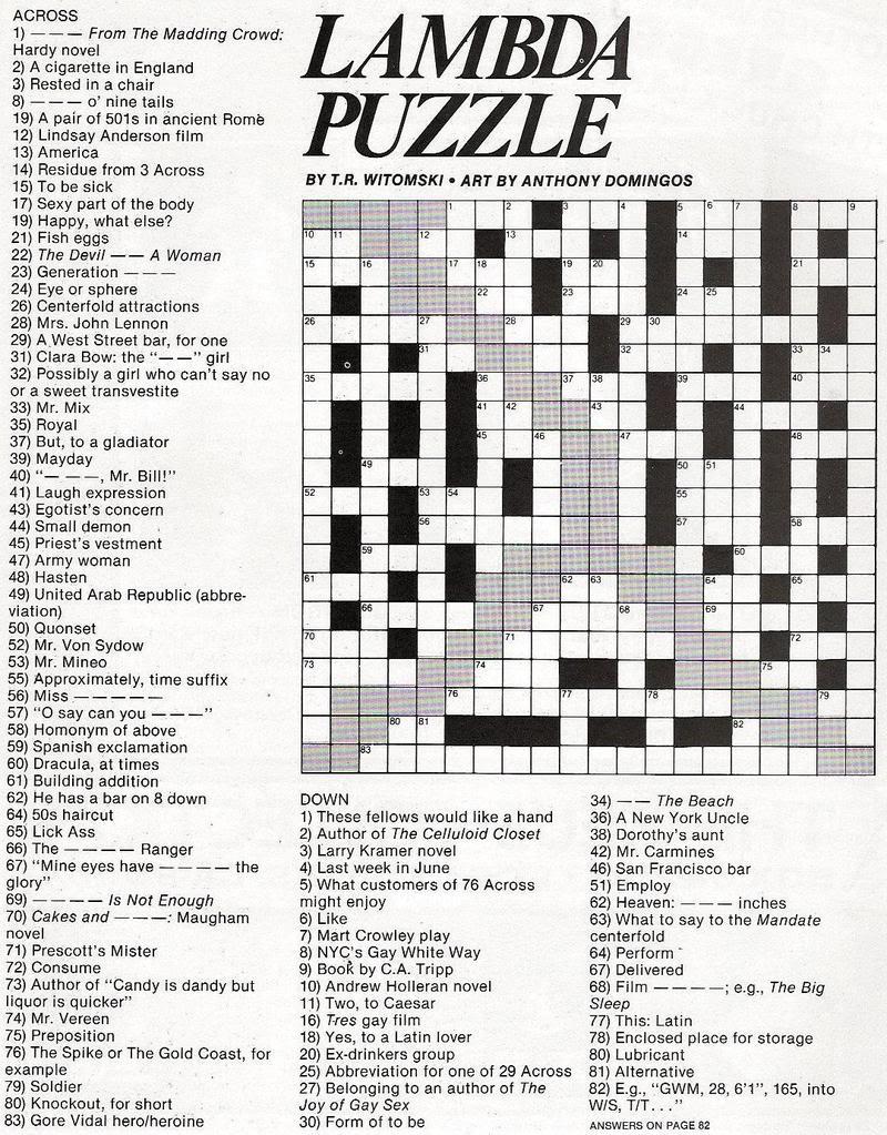 Stinkylulu: Gay Pride Crossword Puzzle (Homo Heritage Fridays) - Entertainment Crossword Puzzles Printable