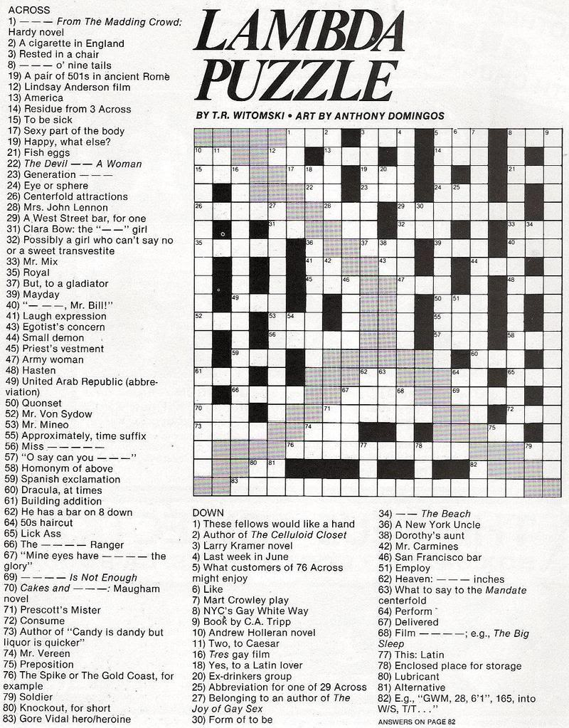 Stinkylulu: Gay Pride Crossword Puzzle (Homo Heritage Fridays) - Pop Culture Crossword Puzzles Printable