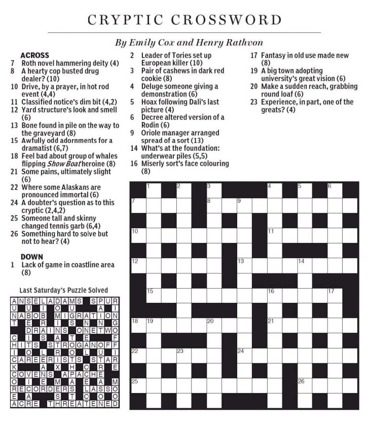 Printable Crossword Puzzles By Eugene Sheffer
