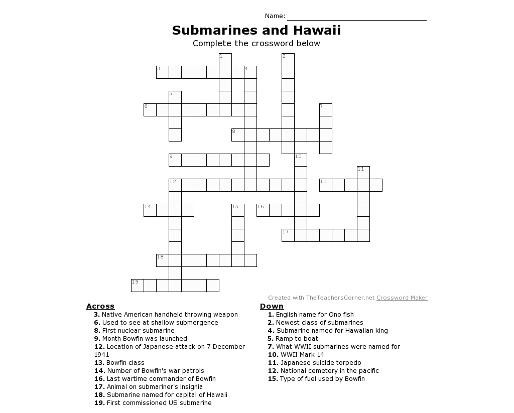 Submarine Printable Crossword Puzzle For All Ages! Whether You Have - Wwii Crossword Puzzle Printable