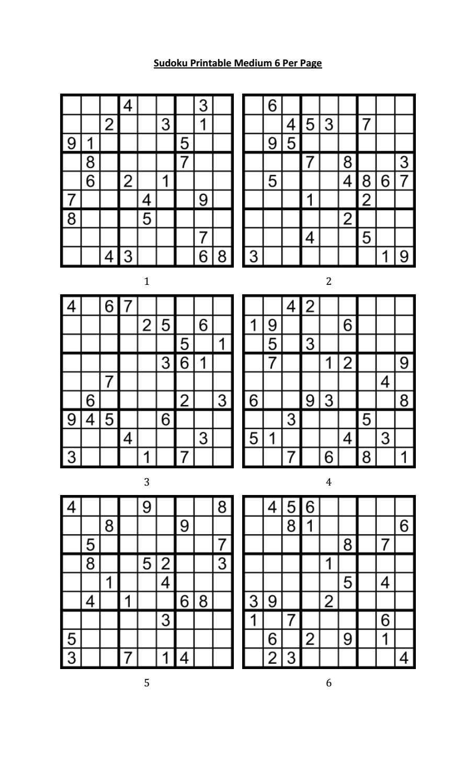 Sudoku Printable Medium 6 Per Pageaaron Woodyear - Issuu - Printable Sudoku Puzzles 6 Per Page