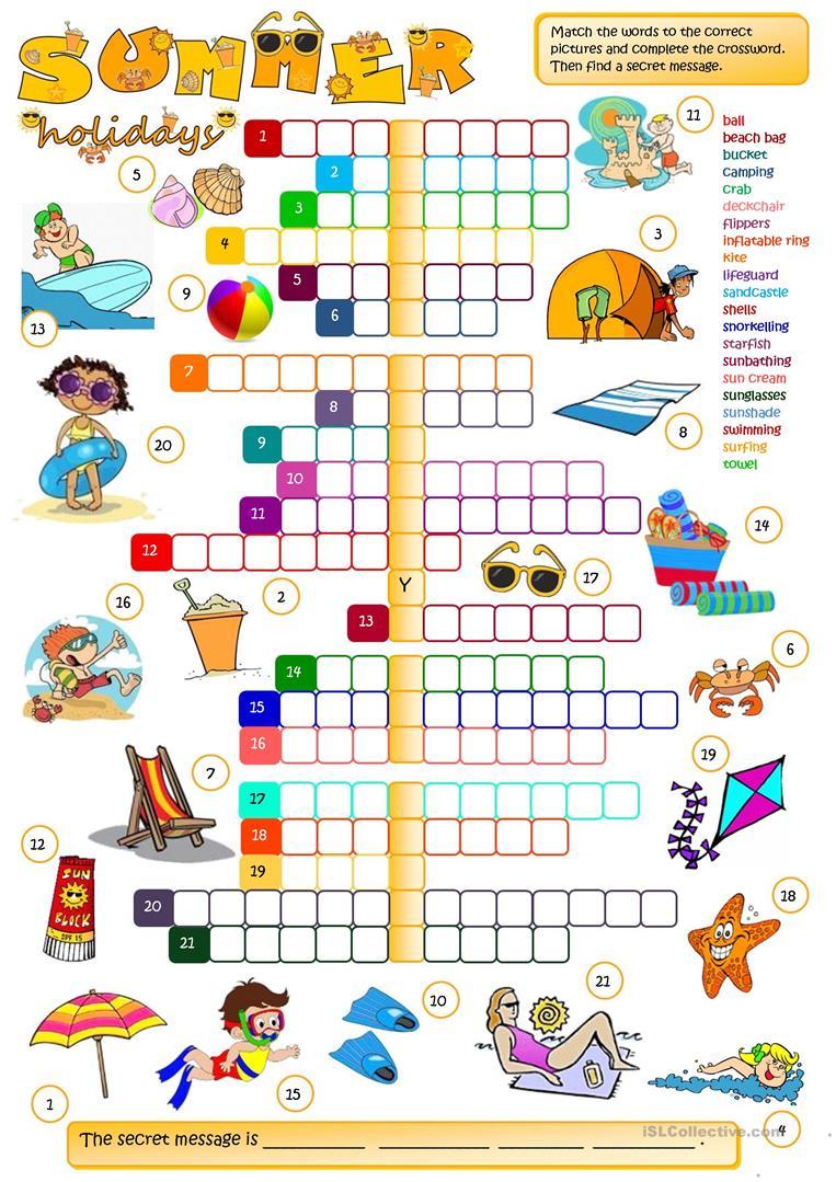 Summer Holidays - Crossword Worksheet - Free Esl Printable - Printable Summer Crossword Puzzles