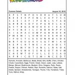 Summer Salads   Printable Puzzle Pdf