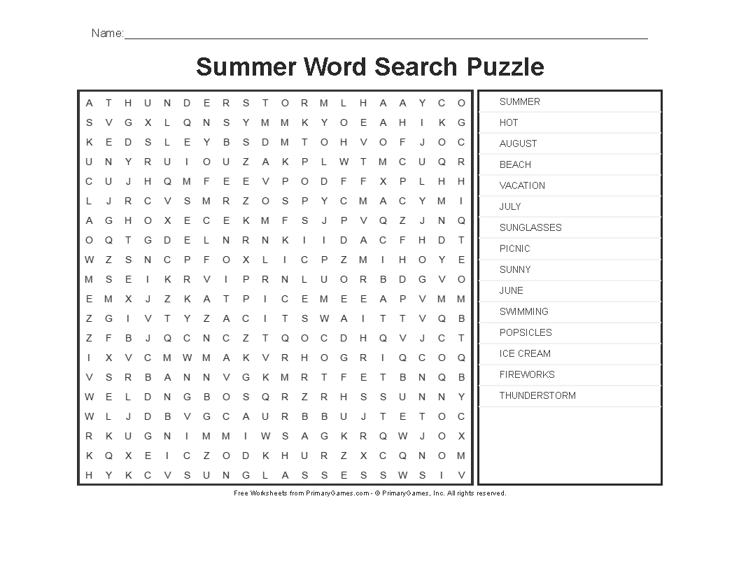 Summer Worksheets: Summer Word Search Puzzle - Primarygames - Play - Printable Crossword Puzzles Summer