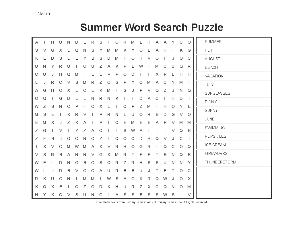 Summer Worksheets: Summer Word Search Puzzle - Primarygames - Play - Printable Puzzles Worksheets