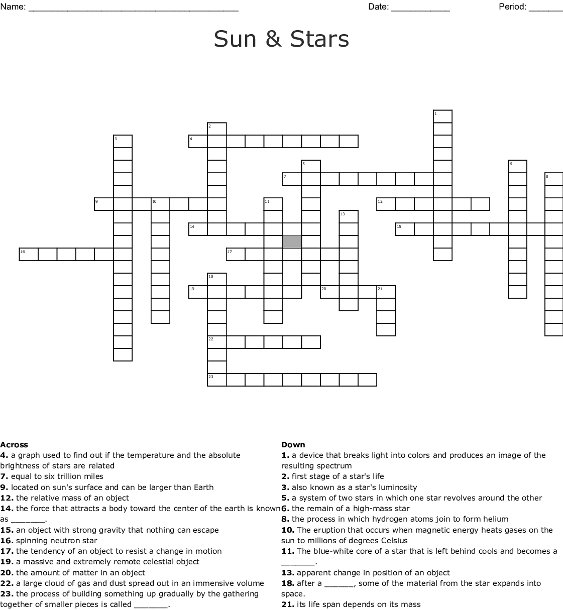 Sun & Stars Crossword - Wordmint - Printable Crosswords The Sun