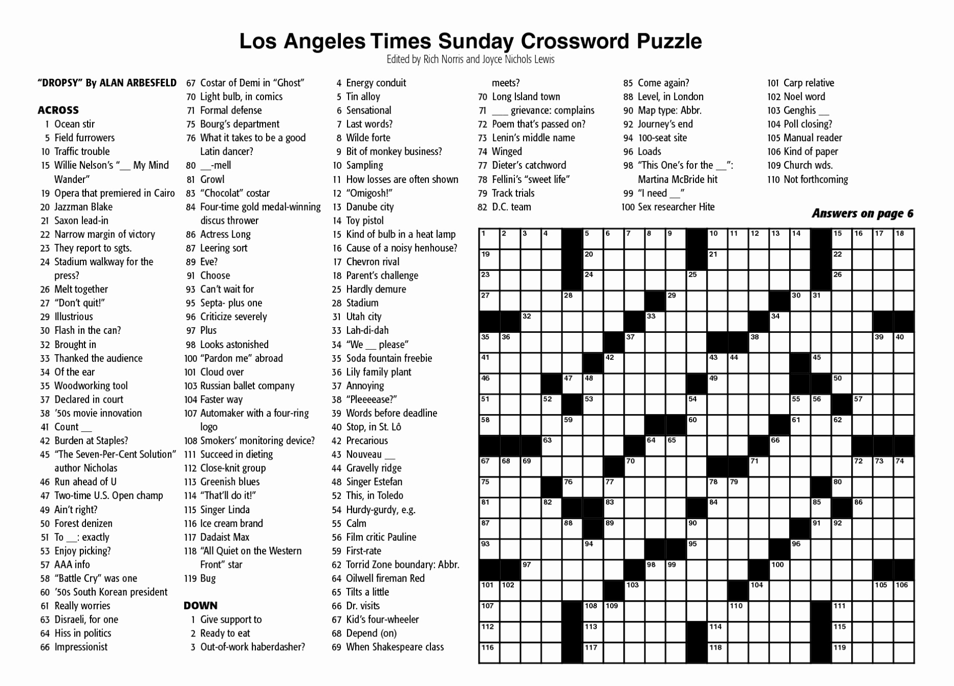 Sunday Crossword Puzzle Printable Ny Times Syndicated Answers - Free - Printable La Times Crossword 2019
