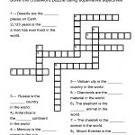 "Superlative Adjectives Worksheet   ""in The World"" Crossword Puzzle   Printable English Crossword Puzzles With Answers Pdf"