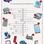 Technical Things Crossword Puzzle Worksheet   Free Esl Printable   Printable Office Puzzles