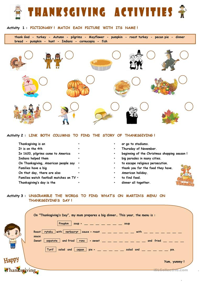 Thanksgiving Activities Worksheet - Free Esl Printable Worksheets - Printable Thanksgiving Puzzles For Adults