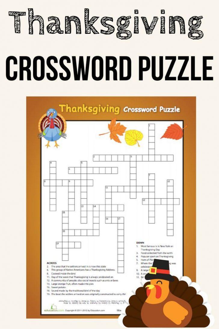 Free Thanksgiving Crossword Puzzles Printable