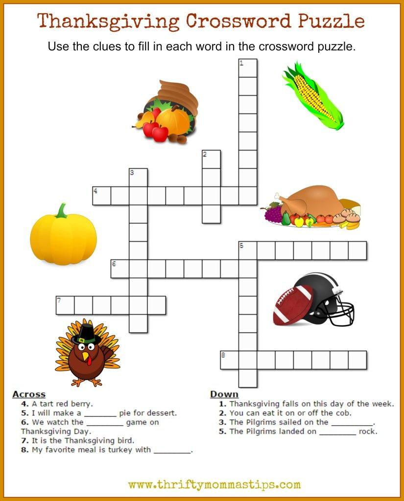 Thanksgiving Crossword Puzzle Printable | Work Thangs | Thanksgiving - Printable Thanksgiving Crossword