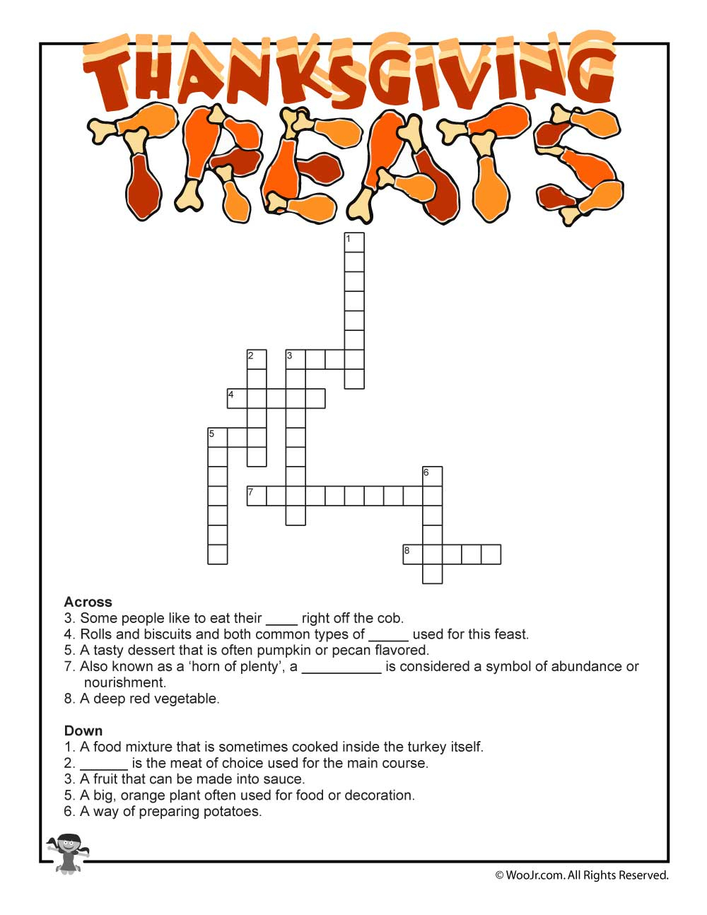 Thanksgiving Crossword Puzzle | Woo! Jr. Kids Activities - Printable Thanksgiving Crossword Puzzles