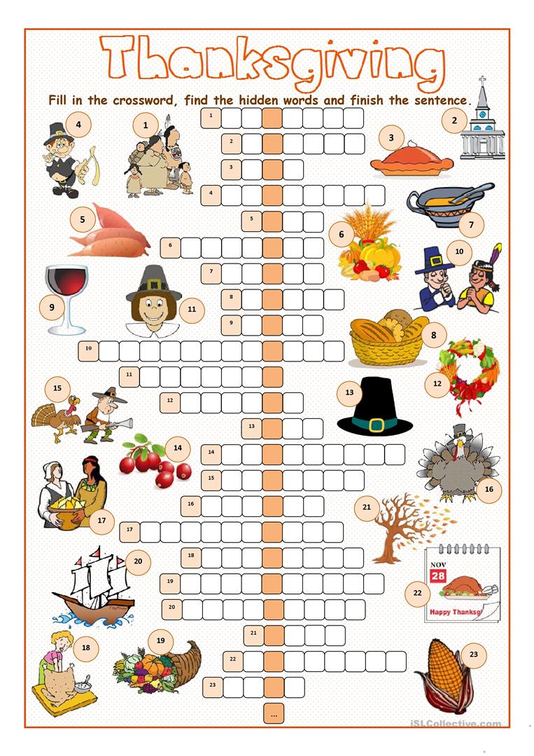 Thanksgiving Crossword Puzzle Worksheet - Free Esl Printable - Printable Crossword Puzzles For Thanksgiving