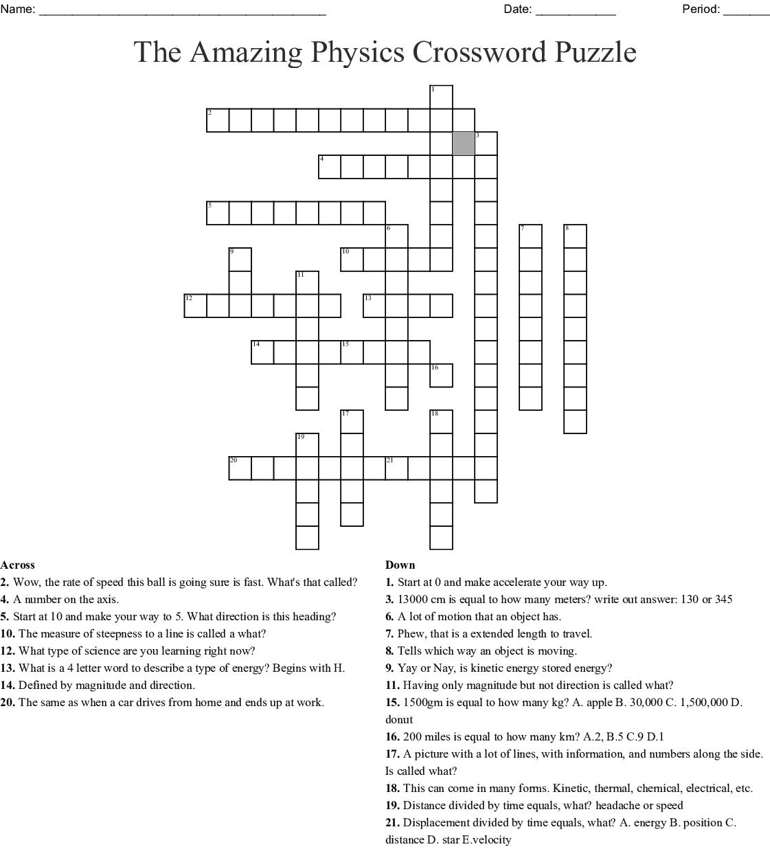 The Amazing Physics Crossword Puzzle Crossword - Wordmint - Physics Crossword Puzzles Printable With Answers
