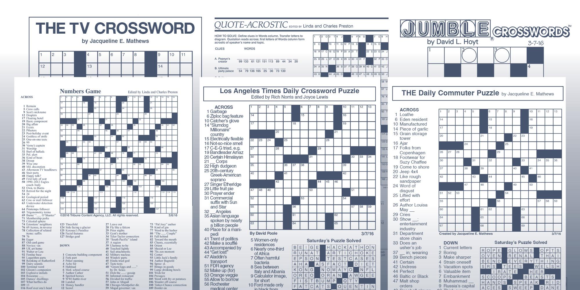 The Daily Commuter Puzzlejackie Mathews   Tribune Content Agency - Jacqueline E Mathews Printable Crossword Puzzles