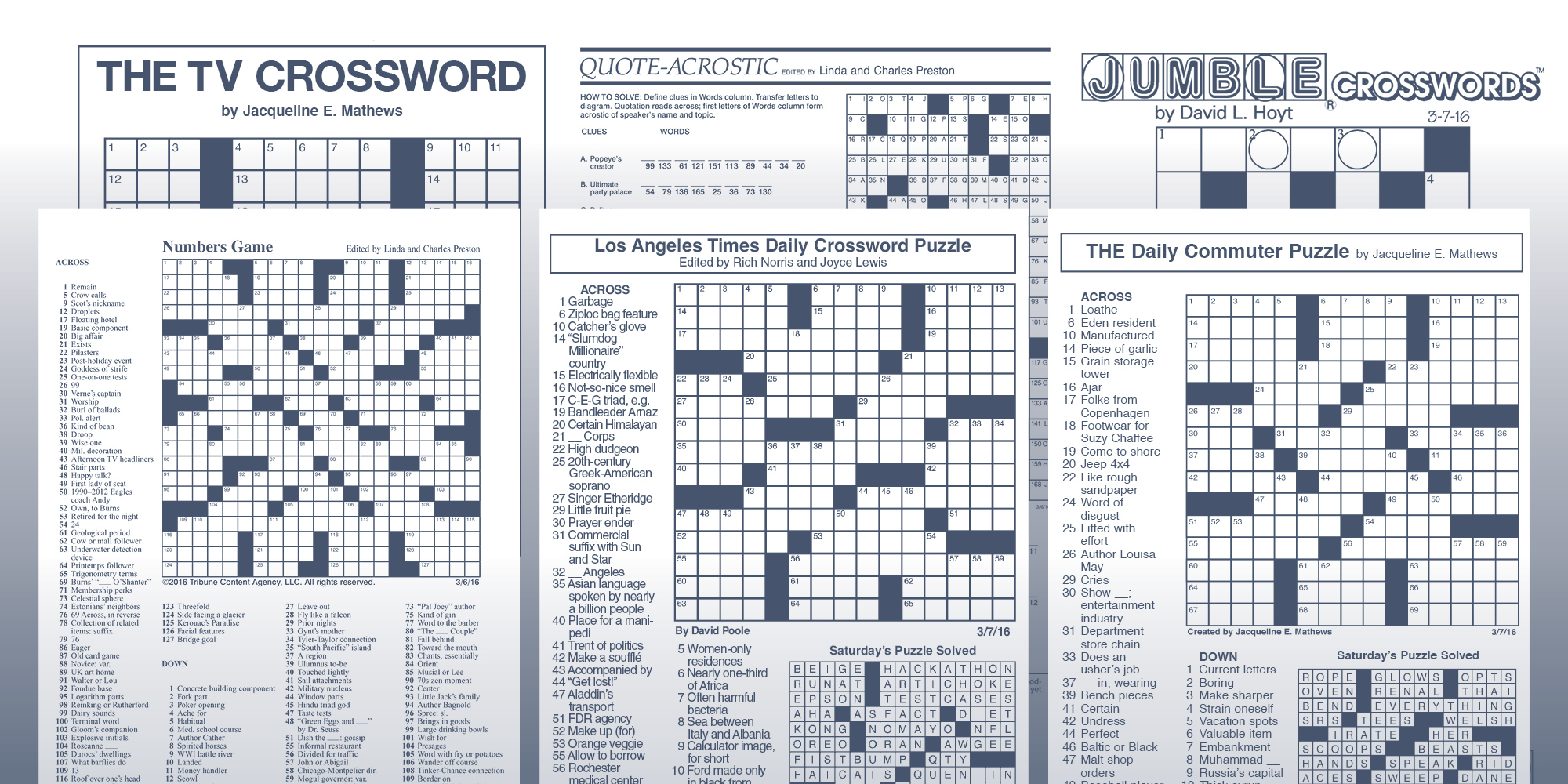 The Daily Commuter Puzzlejackie Mathews | Tribune Content Agency - Printable Daily Record Crossword