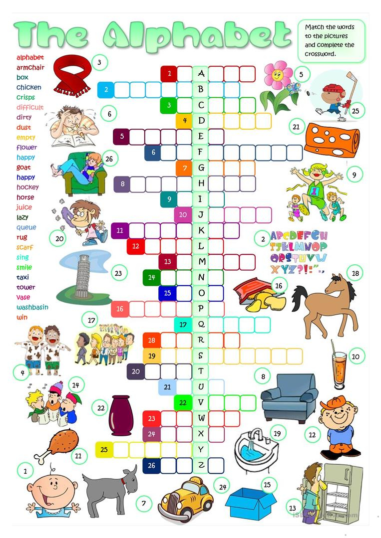 The English Alphabet - Crossword Worksheet - Free Esl Printable - Printable Esl Crossword Worksheets