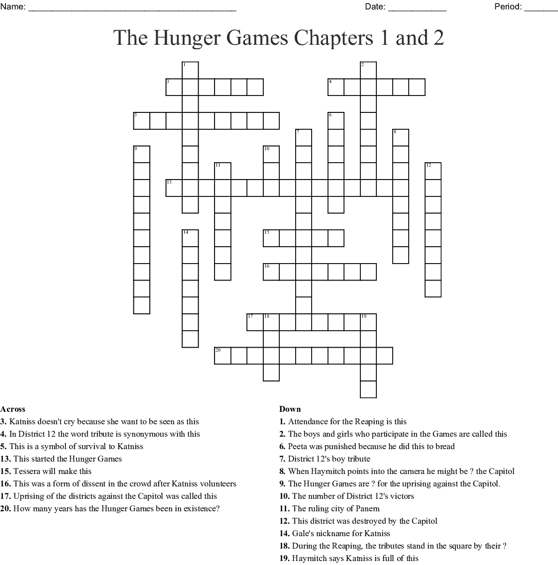 The Hunger Games Chapters 1 And 2 Crossword - Wordmint - Hunger Games Crossword Puzzle Printable
