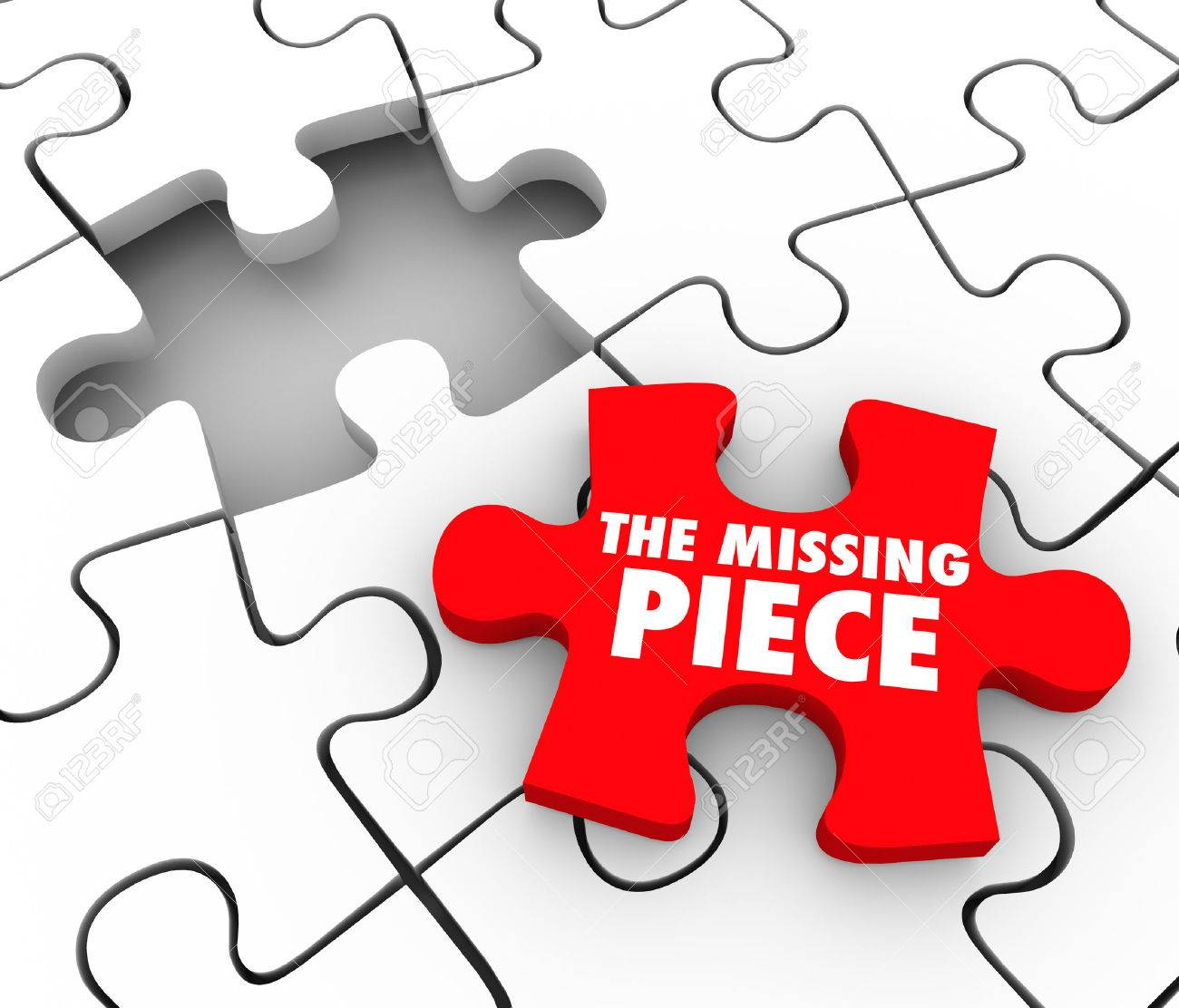 The Missing Piece Words On A Red Puzzle Piece To Complete A Puzzle - Print Missing Puzzle Piece