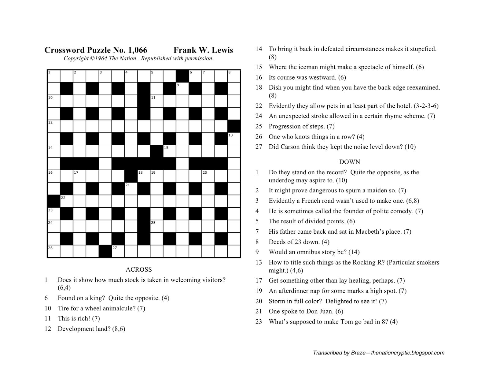The Nation Cryptic Crossword Forum: Nat Hentoff (Puzzle No. 1,066) - Printable Diagramless Crossword Puzzles
