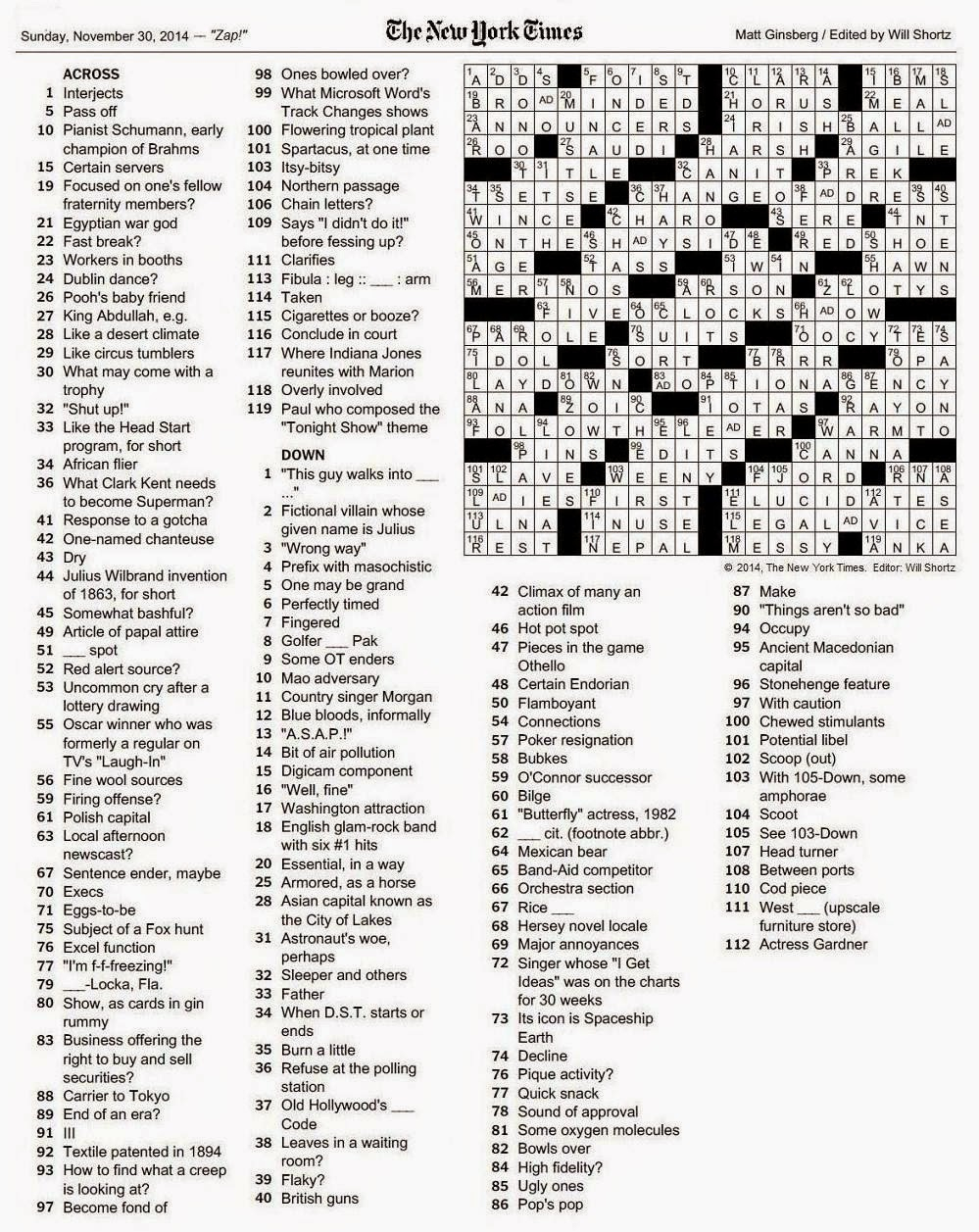 The New York Times Crossword In Gothic: 11.30.14 — Zap! - Printable Crossword Puzzles Will Shortz