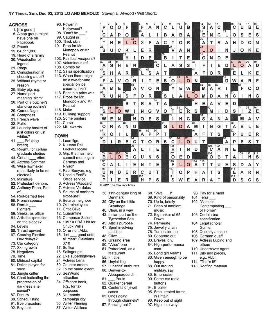 The New York Times Crossword In Gothic: 12.02.12 — Lo And Behold - Will Shortz Crossword Puzzles Printable