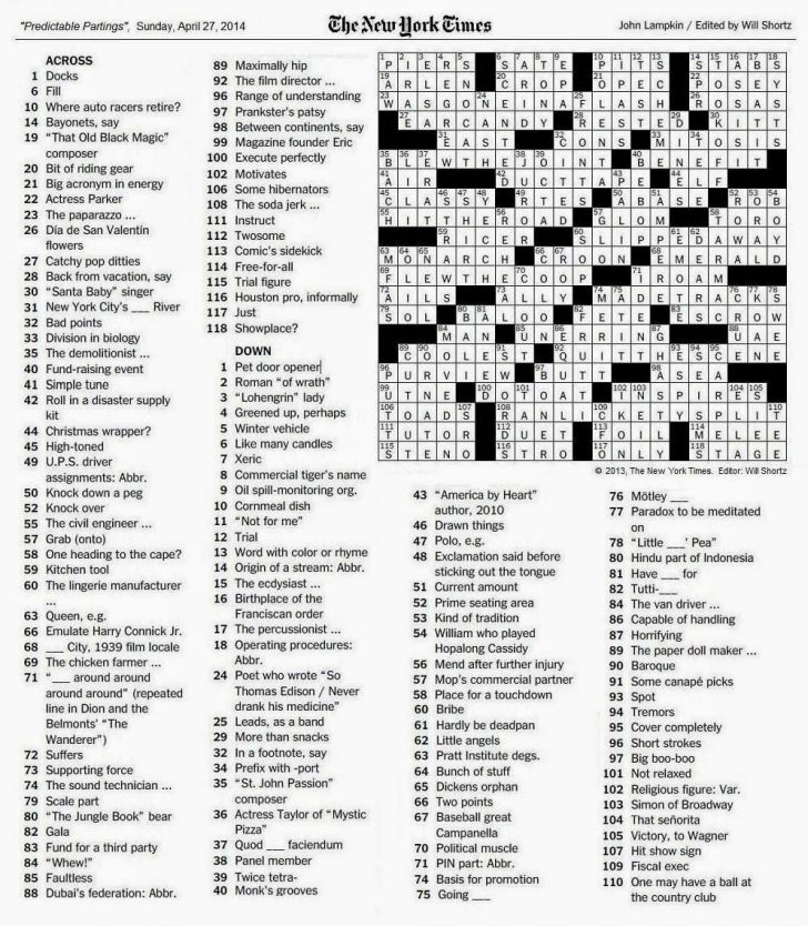 La Times Printable Crossword 2015