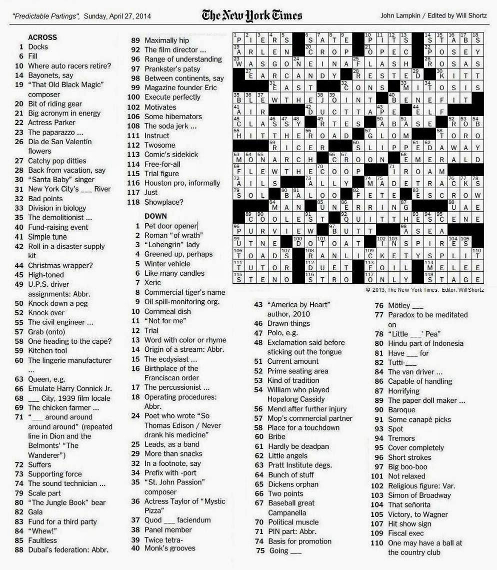 The New York Times Crossword In Gothic: April 2014 - La Times Printable Crossword 2015