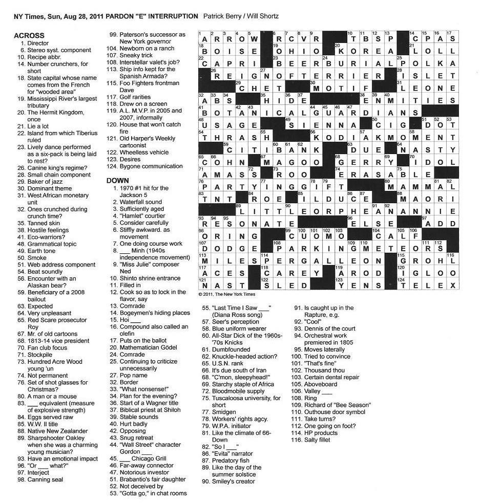 The New York Times Crossword In Gothic: August 2011 - Printable Crossword Puzzles 2011