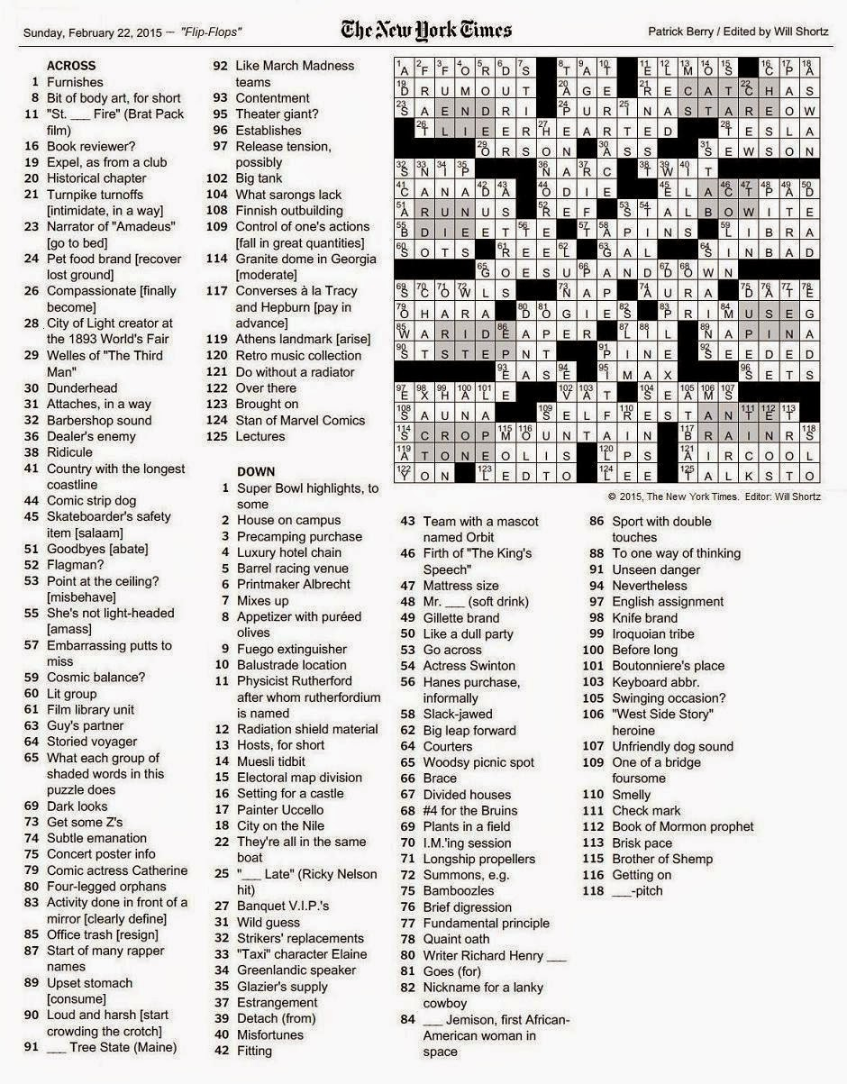 The New York Times Crossword In Gothic: February 2015 - La Times Crossword Puzzle Printable Version