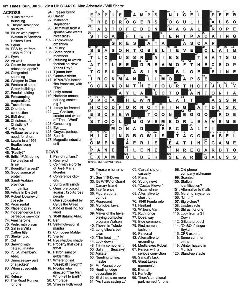 The New York Times Crossword In Gothic: July 2010 - Printable Patternless Crossword Puzzles